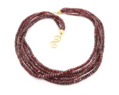 """3Row 4mm Faceted Red Rruby Gemstone Round Beads Necklace 18-20/"""""""